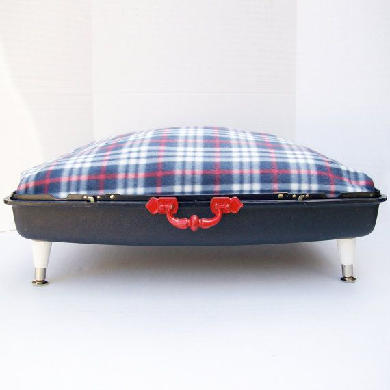 Large Suitcase Dog Bed from 80s suitcase  Navy by Spaghetteria, $75.00