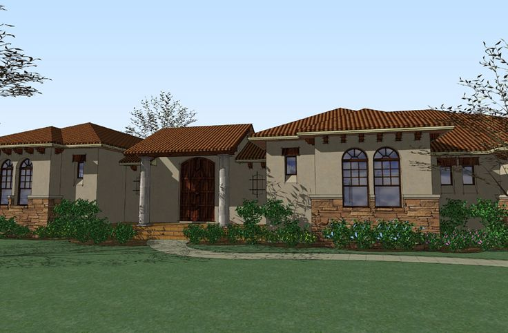 Center Courtyard Beauty - 16813WG | Mediterranean, Spanish, 1st Floor Master Suite, Butler Walk-in Pantry, CAD Available, Courtyard, Den-Office-Library-Study, PDF, Corner Lot | Architectural Designs