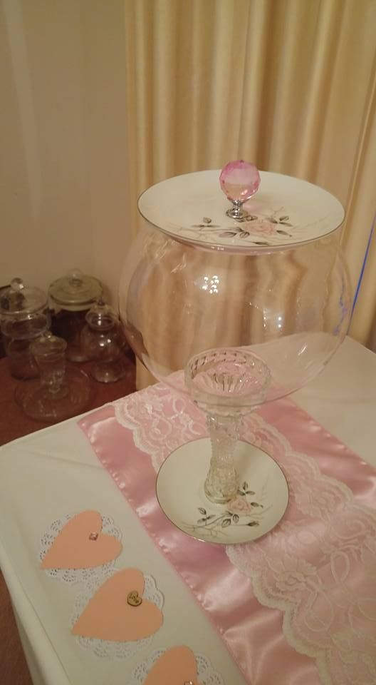 Glue on a Saucer Candle Stick to Bowl....Adorable Vintage Lolly Jar.....