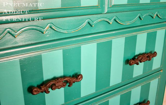 Bold Make-Over: Striped Teal Chest of Drawers