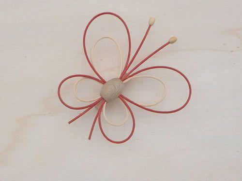 červeno-přírodní motýl-3ks