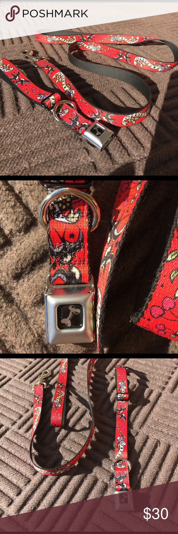 Lucky Dog collar and Leash! Red with fun Detail! On back of collar buckle it says buckle-down seat belt buckle collar was designed by Buckle-Down Inc.  Made in the USA Other