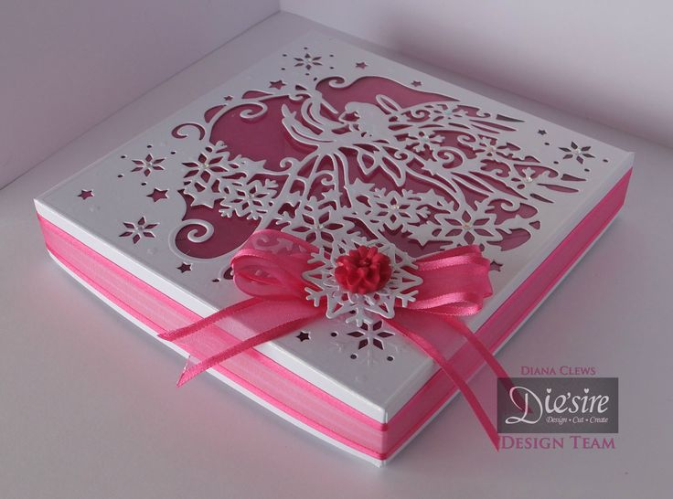 Diana Clews - Angel Box - Christmas Create-a-Card die – Christmas Angel - Snow white Centura Pearl Hint of Gold - Acetate - Die'sire dies: Snow is falling - Easy Crystal Starter Kit for Paper - #crafterscompanion #Christmas