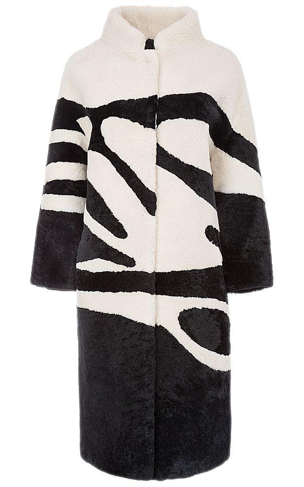Пальто из овчины с отделкой натуральной кожей