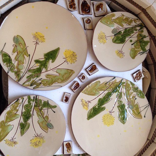 Lots of dandelions coming out of the kiln today #slipware #sgraffito…