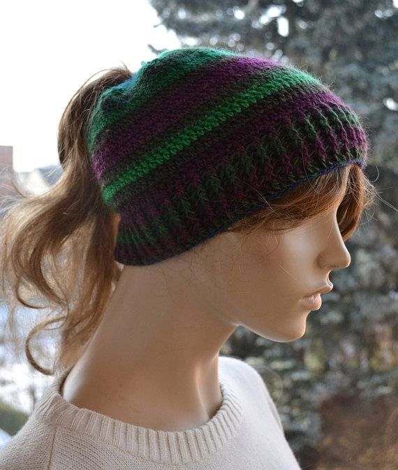 Crocheted Messy Bun Hatcap Beanie Crocheted by DosiakStyle on Etsy