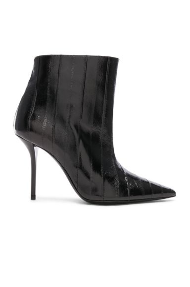 Eel Leather Pierre Stiletto Ankle Boots Hook Rugs Boots Leather