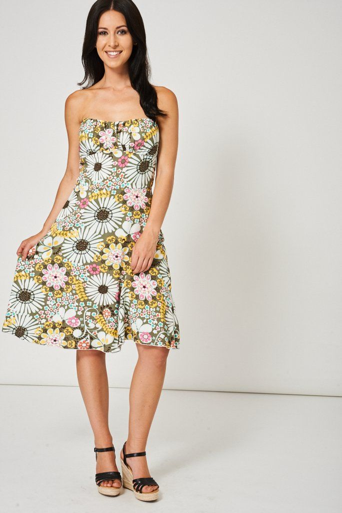 Bandeau Dress With Floral Print