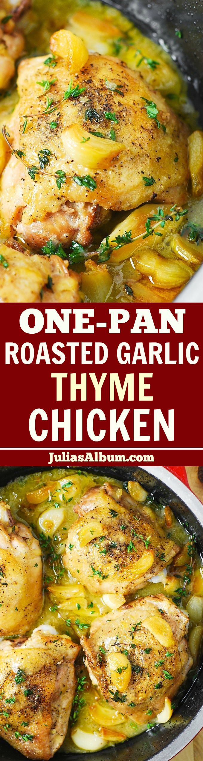 Garlic Thyme Chicken Thighs with a flavorful gravy - easy, 30-minute dish!  #ad #sponsored