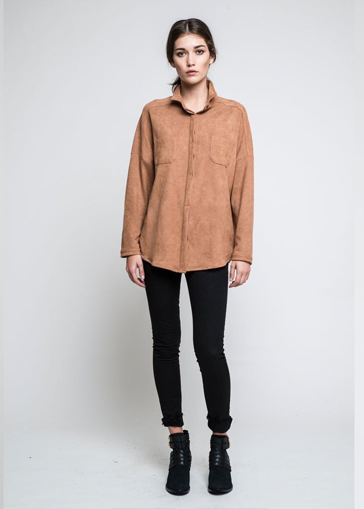 Vegan Suede Shirt: Our Vegan Suede Shirt looks super fresh worn with our Lynx Skinny Jeans. Style a silk neck tie round the collar or wear it buttoned low. Look ultra stylish whilst wearing vegan clothing.   - 100% vegan suede  - Drop shoulder  - Two breast pockets  - Antique metal buttons  - Hidden button placket