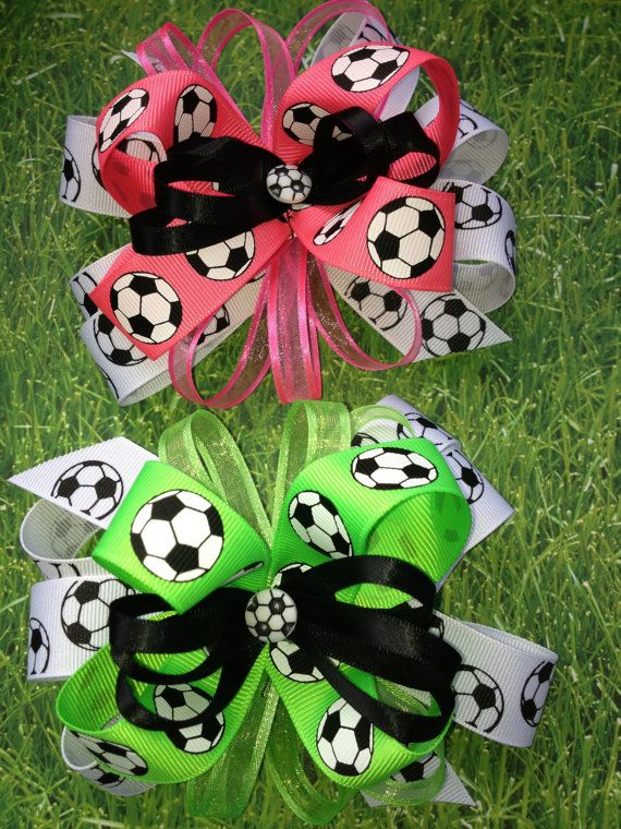 Soccer Bow  Neon Pink  Neon Green  or Neon Orange by TwoLooseLoops, $6.49
