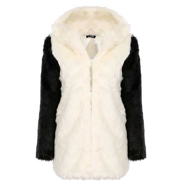 Yoins Panda Hooded Artificial Fur Coat (890 MXN) ❤ liked on Polyvore featuring outerwear, coats, yoins, black, faux fur coat, hooded coat, fur hooded coat, faux coat and fur coat