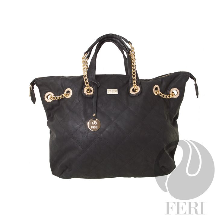 "FERI Day2Day - Meeta - Purse - Black - Oversized Faux leather purse - Tip stitched quilting - Gold toned chain and leather shoulder strap with PU leather handles - Full zippered opening - Custom FERI lining with zippered pouch and cellphone pockets - Dimension: 23"" x 17"" - Great for a weekend travel bag Invest with confidence in FERI Designer Lines.   www.gwtcorp.com/ghem or email fashionforghem.com for big discount"
