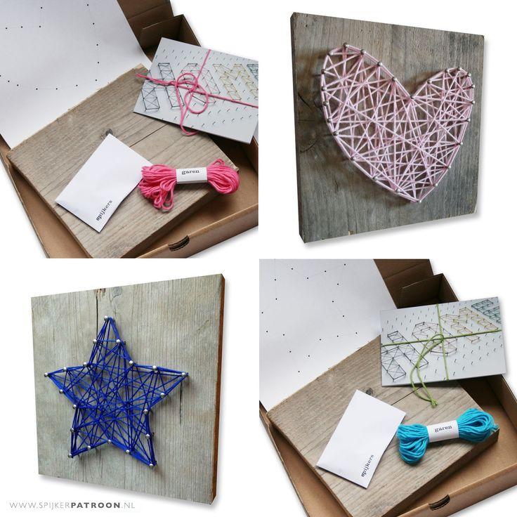 DIY cadeauset met spijkerpatroon, steigerhout, katoengaren en spijkers naar keuze! Ook leuk als activiteit tijdens kinderfeestje!