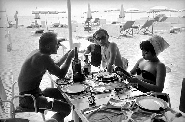 FRANCE - CIRCA 1960:  Charles Aznavour and Francois Chalais. Cannes festival, 1960.  (Photo by Roger Viollet Collection/Getty Images)  http://www.vintag.es/2013/05/vintage-photographs-of-celebrities-at.html#more