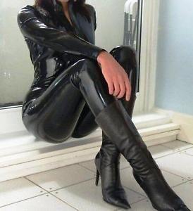 Black Spandex PVC CATSUIT Catwoman Ladies Fancy Dress COSTUME Catsuit M-2XL