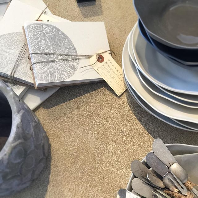 Always love a visit to @porch_carpinteria ! They make the Sand Dollar cards look good in silver! Just dropped new fall goods, be sure to pay them a visit. #rinconroaddesignstudio