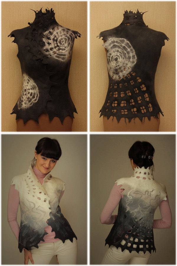 Soft nets / Felted Clothing / Vest. $180.00, via Etsy.