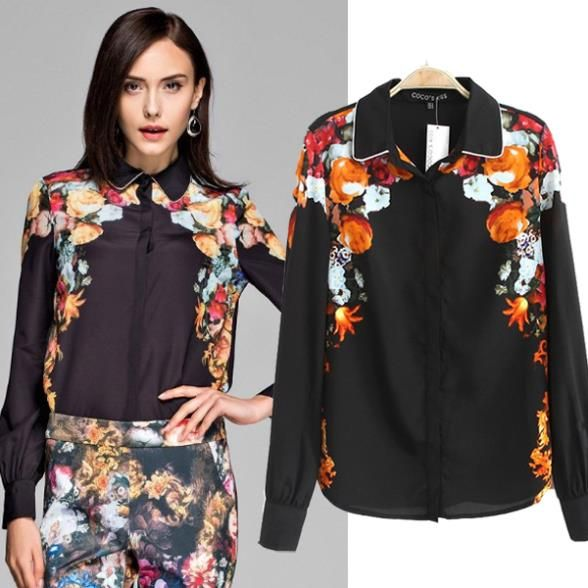 Aliexpress.com : Buy 60 Chiffon ZA** Women Blouse Fashion Camisa  Feminina Vintage Golden Floral Printing Patchwork Tops Cardigan Roupas Fem...