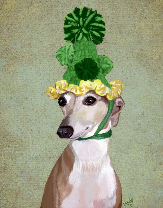Greyhound Print 8X10 Green Hat poster dog illustration dog picture dog gift dog lover dog print painting portrait