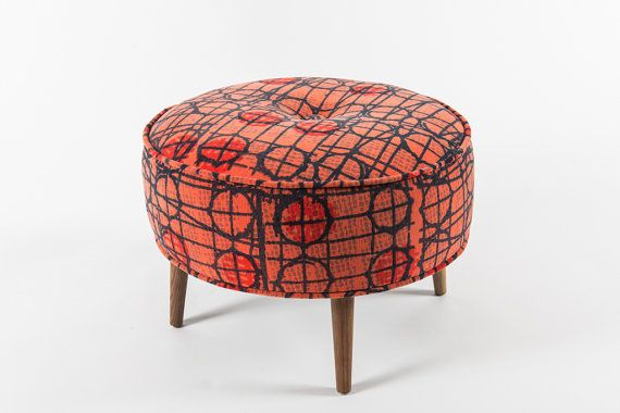 Roud ottoman - Vintage pattern - Coral and blue on Etsy, $245.00 CAD