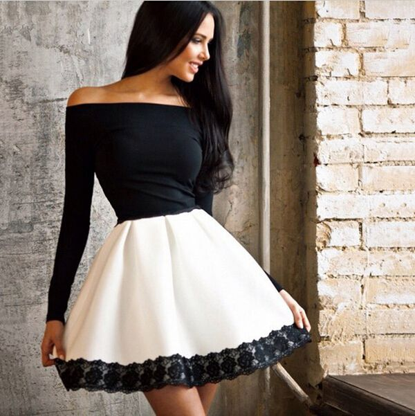 2016 autumn new long sleeved lace patchwork fashion women dress sexy Off shoulder strapless Slash neck tunic dresses plus size-in Dresses from Women's Clothing & Accessories on Aliexpress.com | Alibaba Group