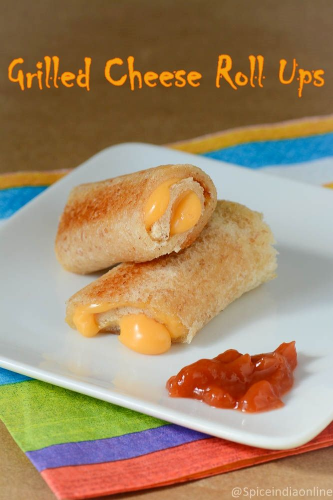 Grilled Cheese Roll-Ups Recipe - Cheese Roll Ups - Kids Snack Recipes - Spiceindiaonline