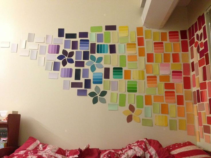 Paint Sample Wall Art. I like the random flowers. Not a fan of this rainbow coloring.