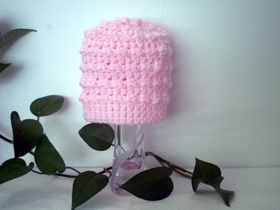 Pink Bobble Baby/Toddler Hat Hand Crochet 6-12 months old by ReadyMade4U, $25.00