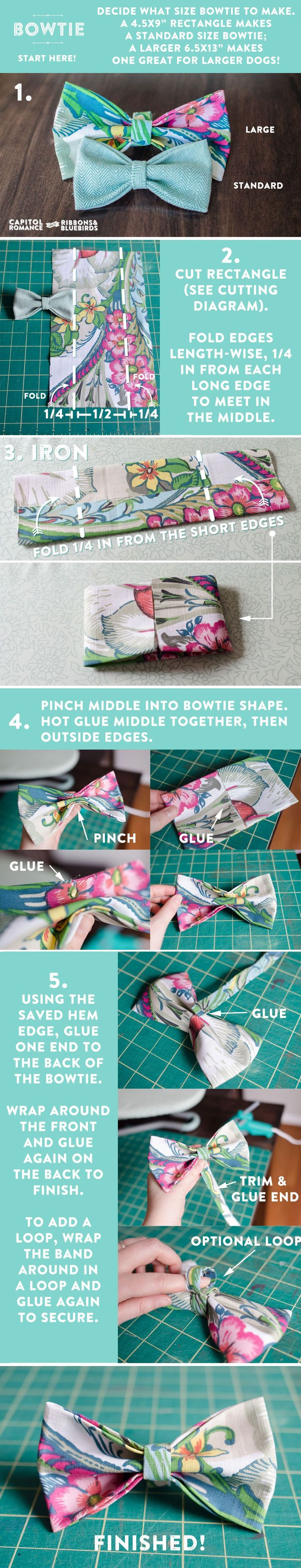 DIY Tutorial: How to Make a Bowtie from a Fabric Napkin | Capitol Romance ~ Real DC Weddings #dogdiy