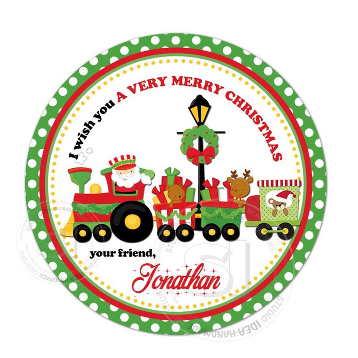 """Christmas Wishes Personalized Printable 2.5"""" Tag-Christmas Train -Santa Claus  2.5 inches Circle Tags DIY Favor Tags-Stickers"""