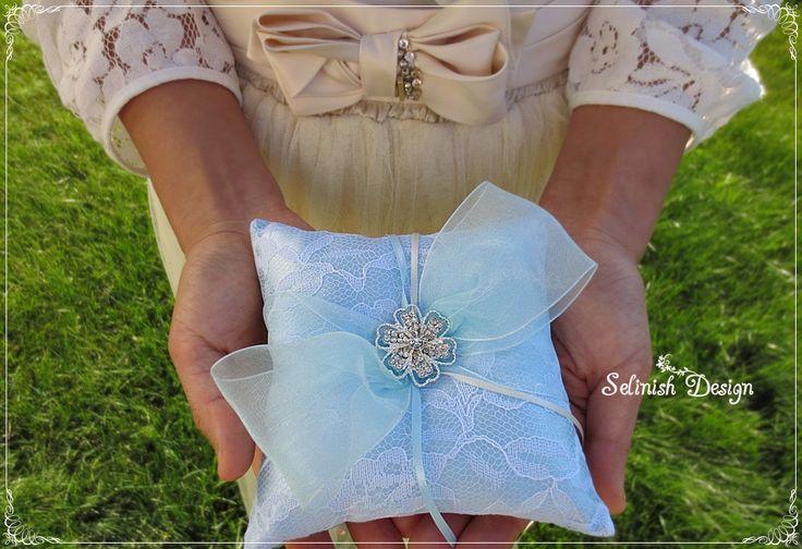 Mini Blue Ring Bearer Pillow, Something Blue Wedding, Light Blue Wedding pillow, Baby Blue Ring Pillow- code: RP157blue by SelinishDesign on Etsy