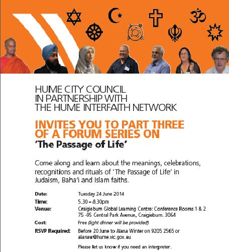Hume Interfaith event: The Passage of Life
