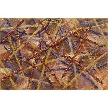 """Quadri Astratti Rilievo """"Graffi di colore"""" Particolare. Materico astratto su tela. Ruvido, crostoso, screpolato, abbina l'astratto alla materia fondendoli in un'unica cosa. I colori volutamente ricercati nelle tonalità terra con tocchi di viola, hanno inseriti graniglie e schegge colorate con perline. Dim. 60x90"""