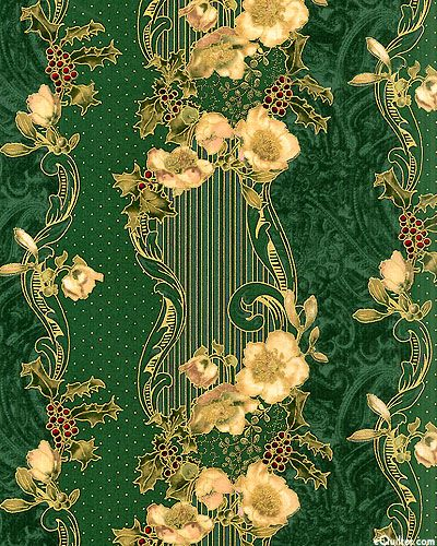 eQuilter - Madeline - Victorian Holiday Stripe - Hunter Green/Gold,  from the 'Madeline' collection by Hoffman Fabrics.