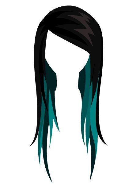 black & turquoise hair