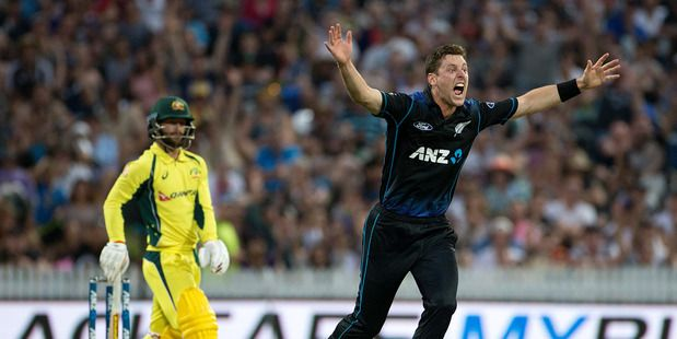 Black Caps bowler Matt Henry appeals for the wicket of Matthew Wade during play in the third ODI between New Zealand and Australia. Photo / Alan Gibson.