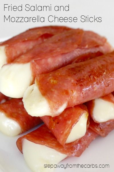 These low carb salami and mozzarella snacks are fried to make the salami crispy and the mozzarella melt-in-the-mouth. 0.5g net carbs per stick!