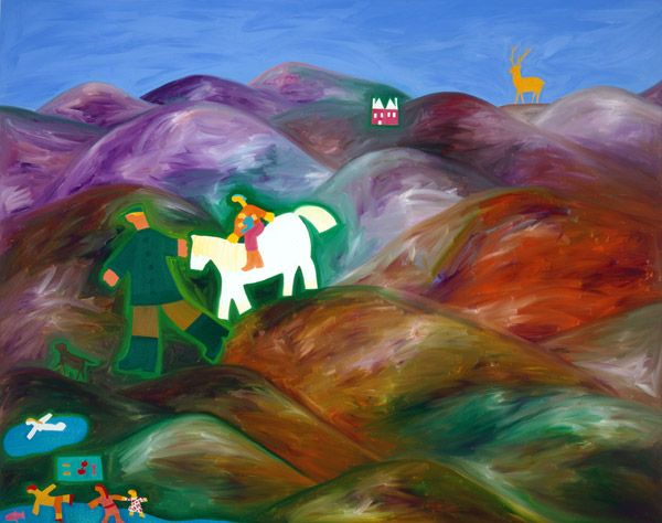 The Picnic in the Highlands, Date: 2001. Oil on linen, 122 x 153 cm. Exhibition: Jump into Reality. #painting #oilpainting #finearts #contemporaryart #cristinarodriguez