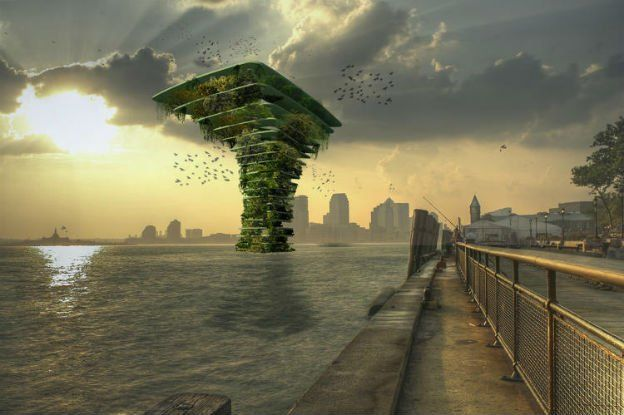 These 'Sea Trees' offer protected city-living to wildlife - According to Adele Peters at Fast Company, the design of the so-called 'Sea Trees' is based on floating oil platforms - large, shelved structures that sit in the ocean for storage.   Each level of the tree-shaped platforms would support a different type of habitat, right down to a coral reef at the bottom, if the climate permits. Birds could come and go as they please, and build nests away from people, traps, and roads.