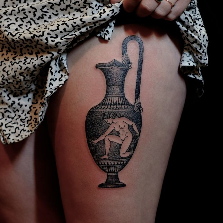 done at East River Tattoo, Brooklyn. by victor j webster, based in auckland, nz. wow, all his work is stunning! ancient greek amphora dotwork thigh tattoo