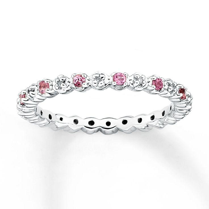 Stackable Ring  Pink Tourmaline & Diamond Sterling Silver