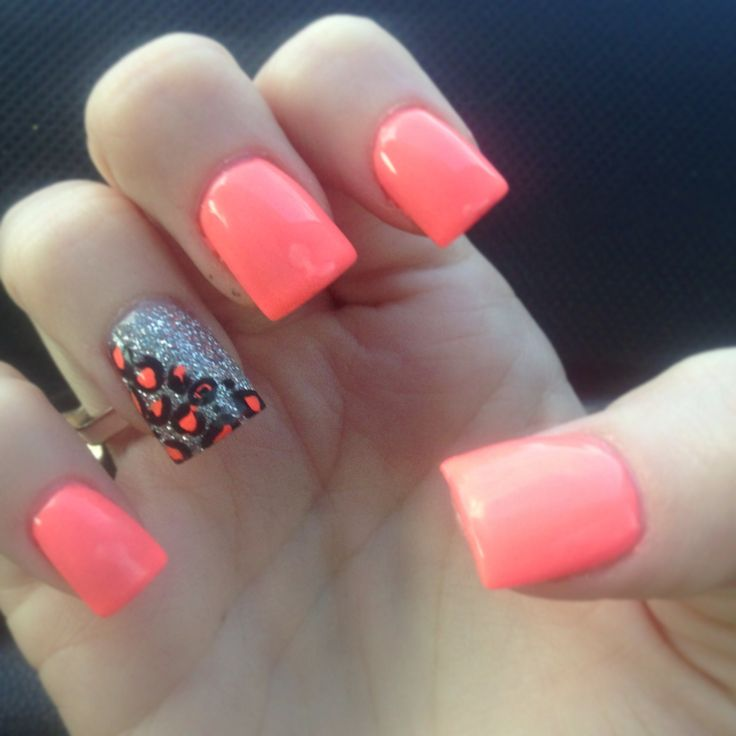 Coral Nails with Glitter Accent Nail and Leopard