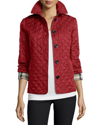 Ashurst Classic Modern Quilted Jacket, Parade Red by Burberry at Neiman Marcus.
