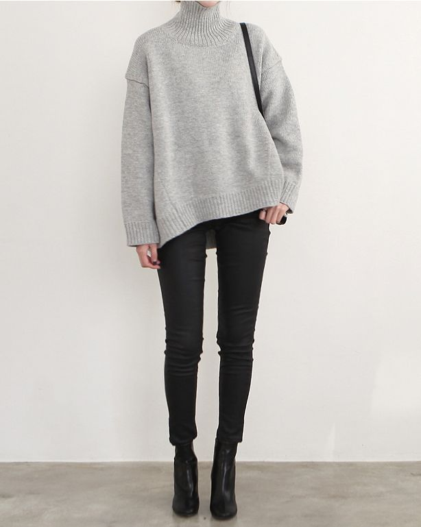 Relaxed Chic - grey sweater, black jeans & ankle boots                                                                                                                                                                                 More