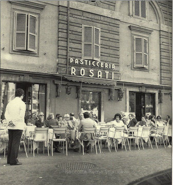 Roma Sparita (Vanished Rome)- Piazza del Popolo. Rosati's caffe on Piazza del Popolo used to serve the most marvelous, light, citrusy ice cream in a hollowed out orange. Moravia and other famous writers hung out there.
