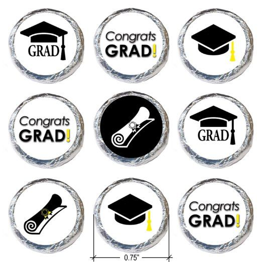 Prefect for Celebrating!  Graduation Party Favor Stickers for Hershey Kisses - Grad Cap Collection (Set of 324)