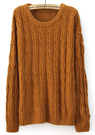 Mustard Yellow Long Sleeve Patched Suede Elbow Cable Knit Sweater - Sheinside.com