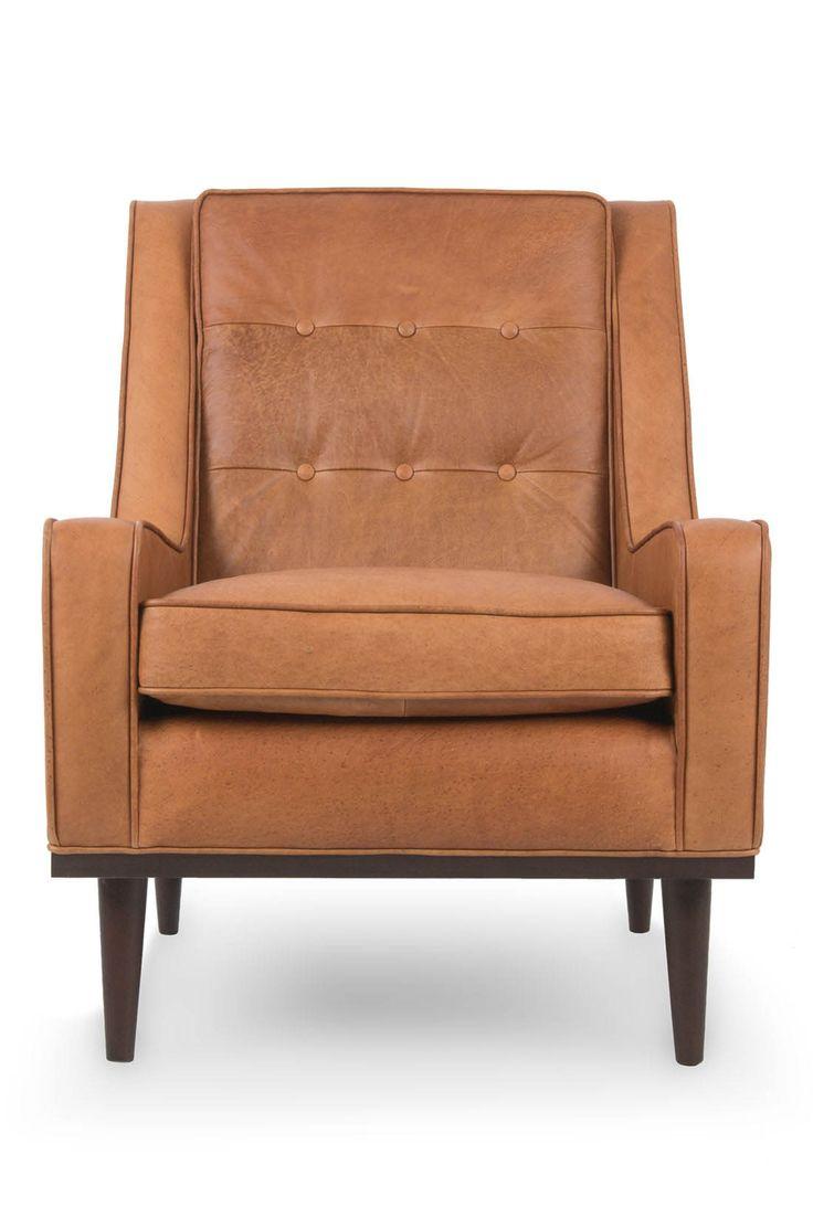 Tan Leather Mid Century Modern Armchair Upholstered Nina