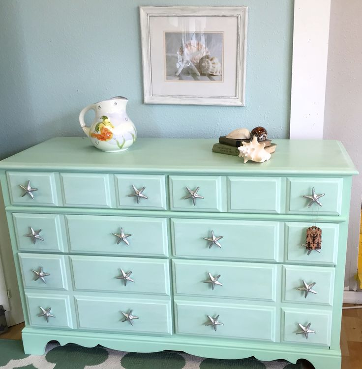 Coastal , Shabby Chic Vintage dresser painted in Landlocked mermaid with a white glaze & Starfish handles. #junkgypsypaint